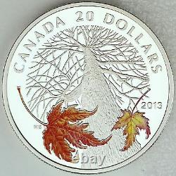 2013 $20 Canadian Maple Canopy in Autumn. 9999 Pure Silver Color Proof Coin