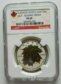 2014 Canada Silver Maple Leaf Gilt Reverse Proof Set NGC Set of 5 Coins