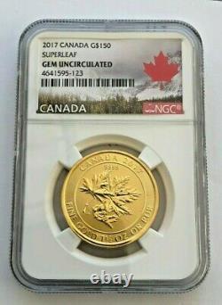 2017 Gold Canadian Maple Leaf 1.5 oz BU NGC Gold $150 MegaLeaf