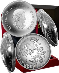 2017 Maple Leaves in Motion $50 5OZ Pure Silver Convex Coin Canada. Mintage 2000