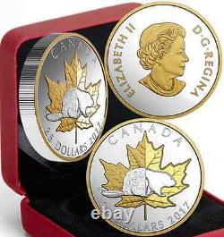 2017 Timeless Iconic Piedfort $25 1OZ Pure Silver Coin Canada Beaver Maple Leaf
