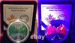 2018 Maple Tree Tunnel $20 1OZ Pure Silver Proof Canada Coin Glow-in-Dark