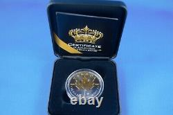 2019 Black Empire 1 OZ Silver Maple Leaf With Ruthenium & 24 Kt Gold