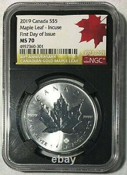 2019 CANADA $5 INCUSE MAPLE LEAF SILVER 1 Oz NGC MS70 FIRST DAY OF ISSUE