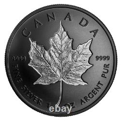 2020 1 oz Silver Maple Leaf $20 Incuse, with Rhodium, only 5000 mintage