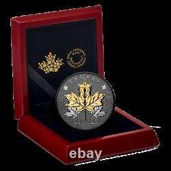 2020 Maple Leaves Motion $50 5OZ Pure Silver Proof Coin with Gold & Rhodium
