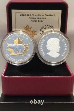 2020 Timeless Icons Piedfort $25 1OZ Silver Coin Canada Maple Leaf & POLAR BEAR