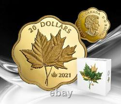 2021 CANADA $20 Iconic Maple Leaves gold plated pure silver with ML25 privy mark