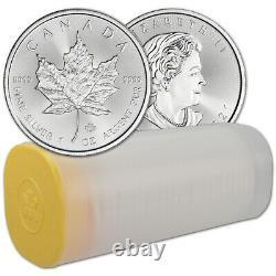 2021 Canada Silver Maple Leaf 1 oz $5 1 Roll Twenty-five 25 BU Coins
