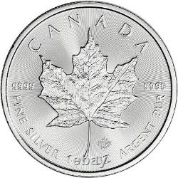 2021 Canada Silver Maple Leaf 1 oz $5 4 Rolls 100 Coins in 4 Mint Tubes