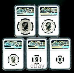 2021 Canada Silver Pulsating Maple Leaf 5-coin Set Ngc Pf70 Rev Proof Mintage 3k
