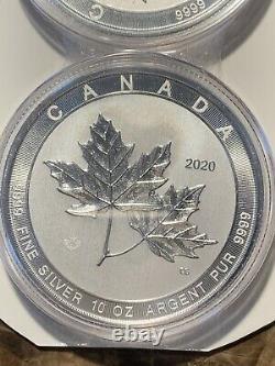 (2) 2020 10 Oz. 9999 Silver $50 Magnificent Maple Leaf Brilliant Uncirculated BU