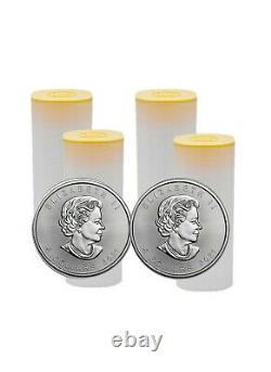 4 Rolls of 25 Silver 2021 Canada 1 Troy Oz Silver Maple Leaf 100 Coins