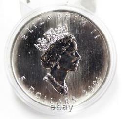 4x 2001, 2002, 2003 & 2004 1 oz. Canada Silver Coloured Maple Coins. 9999 pure