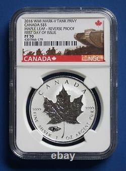 CANADA 2016 Silver Maple Leaf with Mark V Tank Privy Mark (NGC PF70 FDOI)