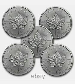 Canada 1 oz Silver Maple Leaf Lot of 5 Coins. 9999 Fine Silver