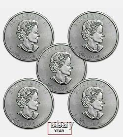 Canada 1 oz Silver Maple Leaf (UNCIRCULATED) Lot of 5 Coins. 9999 Fine Silver