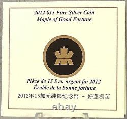 Canada 2012 $15 Maple of Good Fortune 1 oz. Pure Silver Hologram Proof Coin