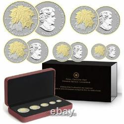 Canada 2014 5 Coin 24-Karat Gold Plated Pure Silver Maple Leaf Fractional Set