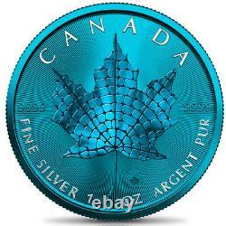 Canada 2021 $5 Maple Leaf MOSAIC SPACE BLUE EDITION 1 oz