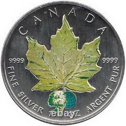 Canada 4 x 5$ 2002 Maple Leaf Four Seasons Set, 4 Oz Silver Case & COA