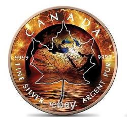 Canada Maple Leaf Fire 1 Oz Silver 2021 Global Warming 5$ Silver Coin 24k Gold