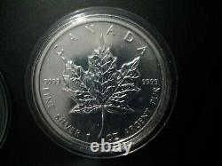 Canadian silver maple leaf coin 2010 in capsule 1oz silver X 5 lot