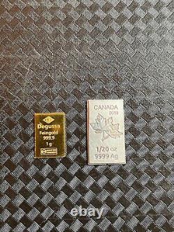 Degussa. 999 Gold Bar 1g & 1/20oz. 999 Silver Canada Maple leaf Bar Rare