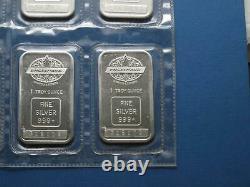 Engelhard Canadian Maple Leaf 1oz Silver Bars 10 pieces in Original Sheet