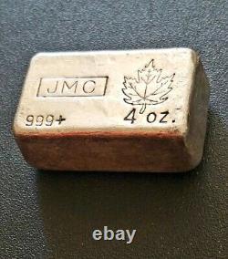 JMC (4 oz.)JOHNSON MATTHEY CANADA 999+ Fine Silver Maple Leaf Bar