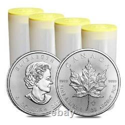 Lot of 100 2021 1 oz Canadian Silver Maple Leaf. 9999 Fine $5 Coin BU