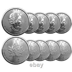 Lot of 10 2021 1 oz Canadian Maple Leaf Silver BU Coin