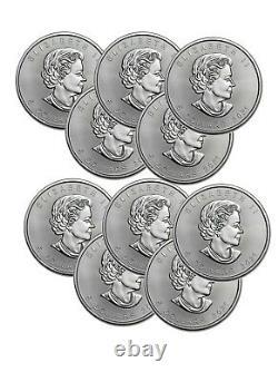Lot of 10 Silver 2021 Canada 1 Oz. 9999 Silver Maple Leaf $5 Coins