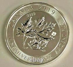 Lot of 3 Silver 2019 Silver $8 Silver Canadian Maple Leaf 1.5 oz BU Coins