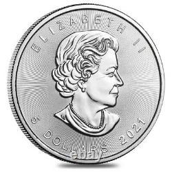 Lot of 50 2021 1 oz Canadian Silver Maple Leaf. 9999 Fine $5 Coin BU