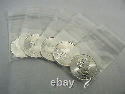 Lot of 5 2020 1 oz. Canada Silver Maple Leaf $5 Coins GEM BU