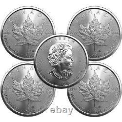 Lot of 5 2021 1 oz Canadian Maple Leaf Silver BU Coin