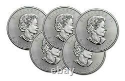 Lot of 5 Silver 2021 Canada 1 Oz. 9999 Silver Maple Leaf $5 Coins