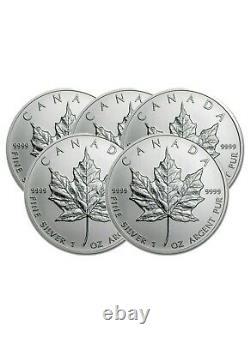 Lot of 5 Silver $5 Silver Canadian Maple Leaf 1 oz Random Year. 9999 Fine Coins