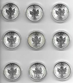 Lot of Nine (9) 2014 2015 Canadian $5 1 oz. Silver Maple Leafs - FREE SHIPPING