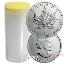 Random Year Roll of 25 Canada 1 oz Silver Maple Leaf Coin BU IN STOCK