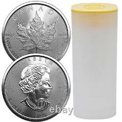 Roll of 25 2021 1 oz Canadian Maple Leaf. 9999 Silver BU Coin (25 Coins) NEW