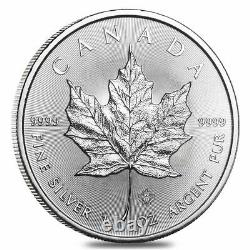 Roll of 25 2021 1 oz Canadian Silver Maple Leaf. 9999 Fine $5 Coin BU Lot