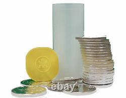 Roll of 25 Silver 2021 Canadian 1 oz Maple Leaf Bullion. 9999 BU Leafs Coins